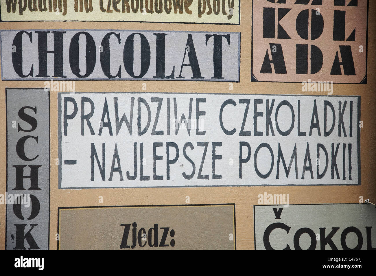 A chocolate menu in many different languages, Poland - Stock Image