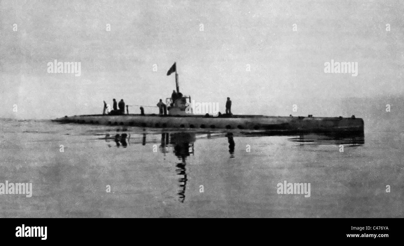 Guarding the Adriatic - An Italian Submarine in Surface Trim during World War I - Stock Image