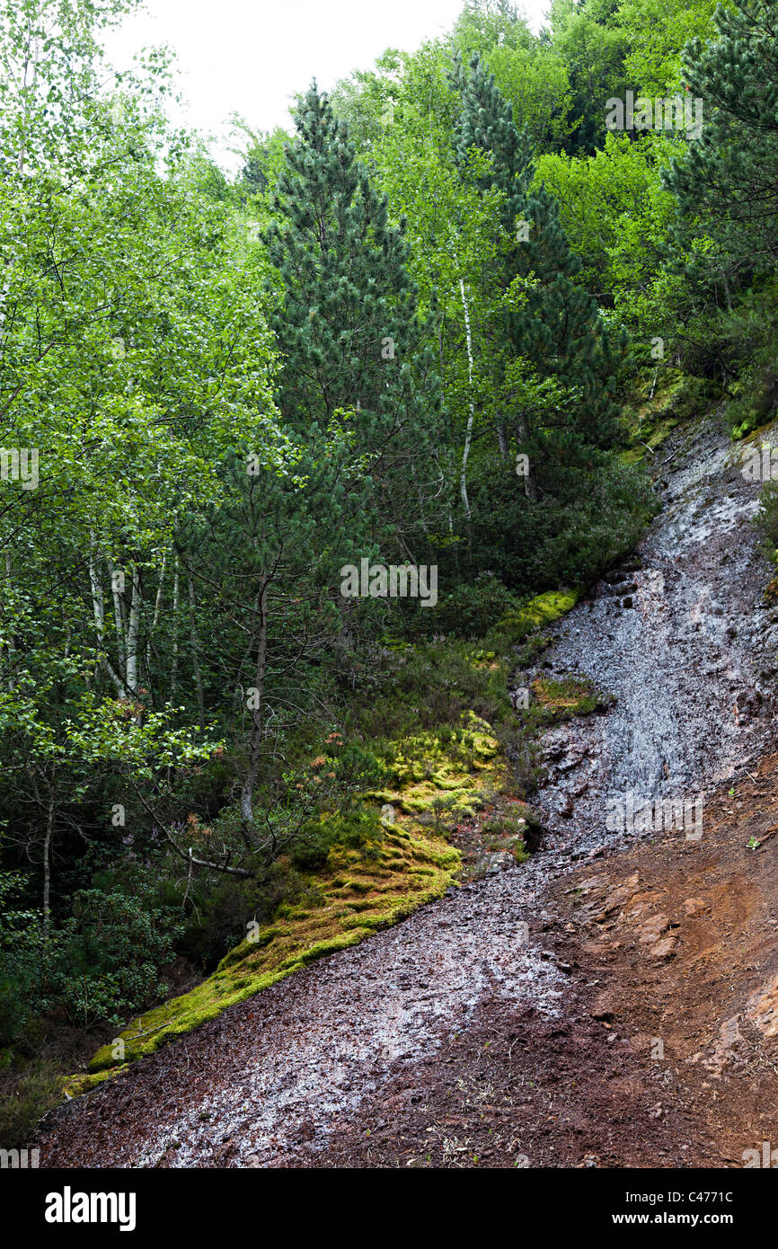 Water running down contaminated slope at the remains of the 19th century Llorts iron mine Andorra - Stock Image