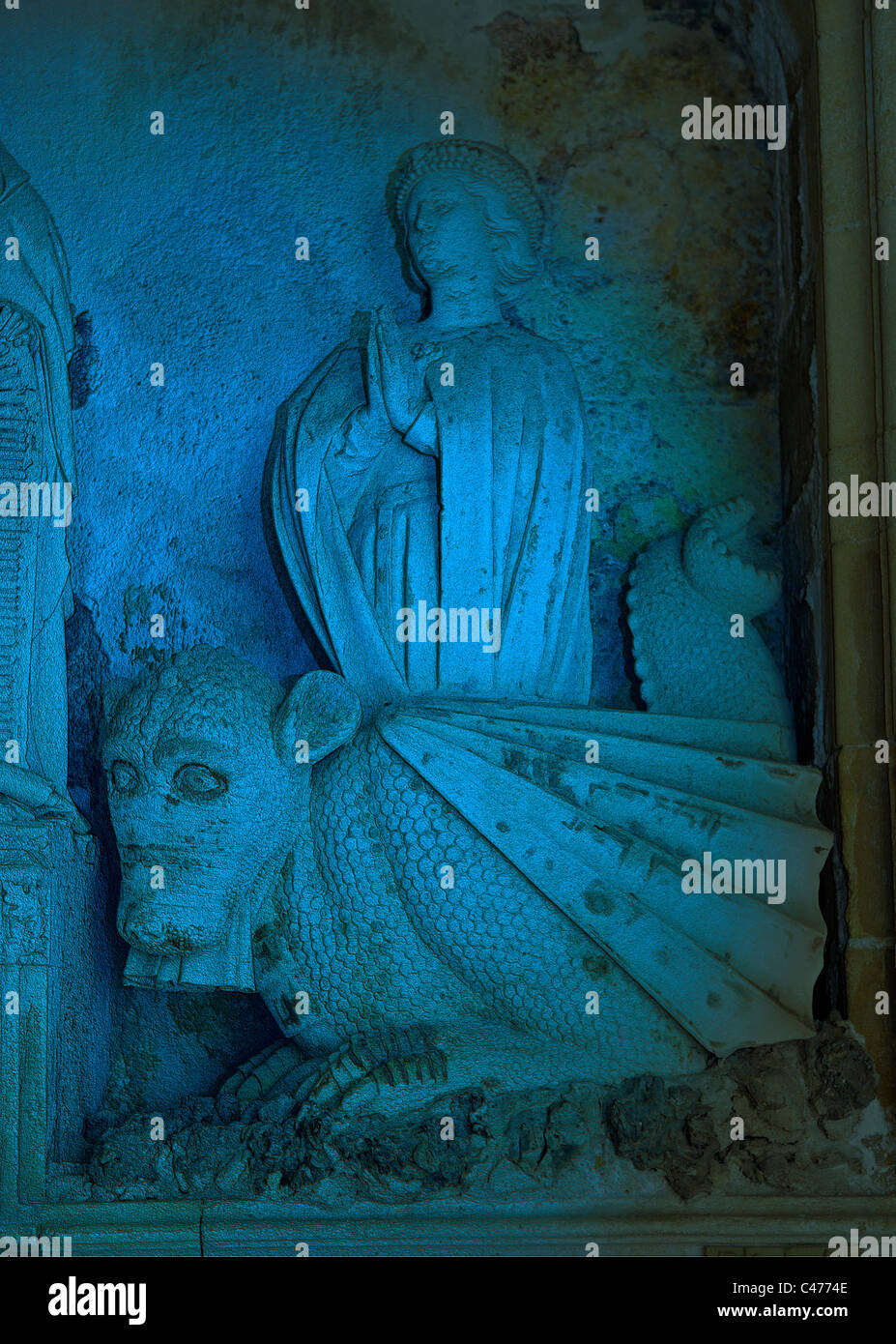 Cathedral of the Holy Saviour, Aix en Provence, France. Detail of Aygosi family stone altar. Dragon with St. Margaret - Stock Image