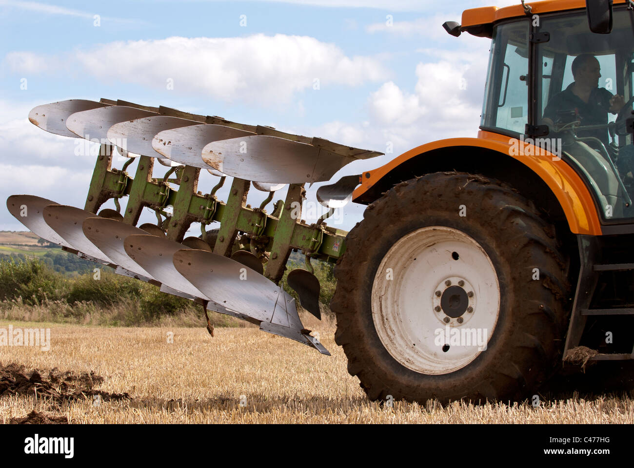 Dowdeswell 5 furrow reversible plough - Stock Image