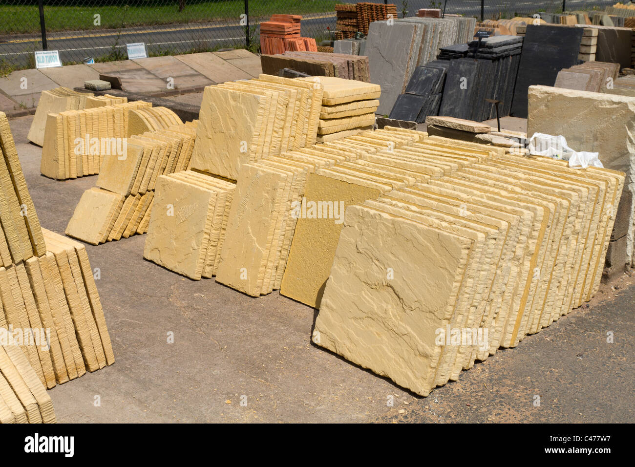 paving slabs for sale in a garden centre stock photo. Black Bedroom Furniture Sets. Home Design Ideas
