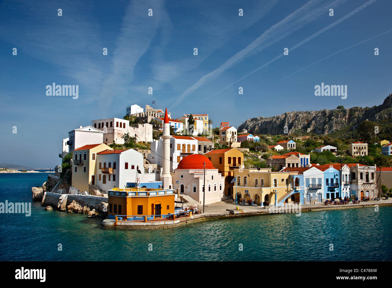 Partial view of the picturesque village of Kastellorizo (or 'Meghisti') island, Dodecanese, Greece - Stock Image