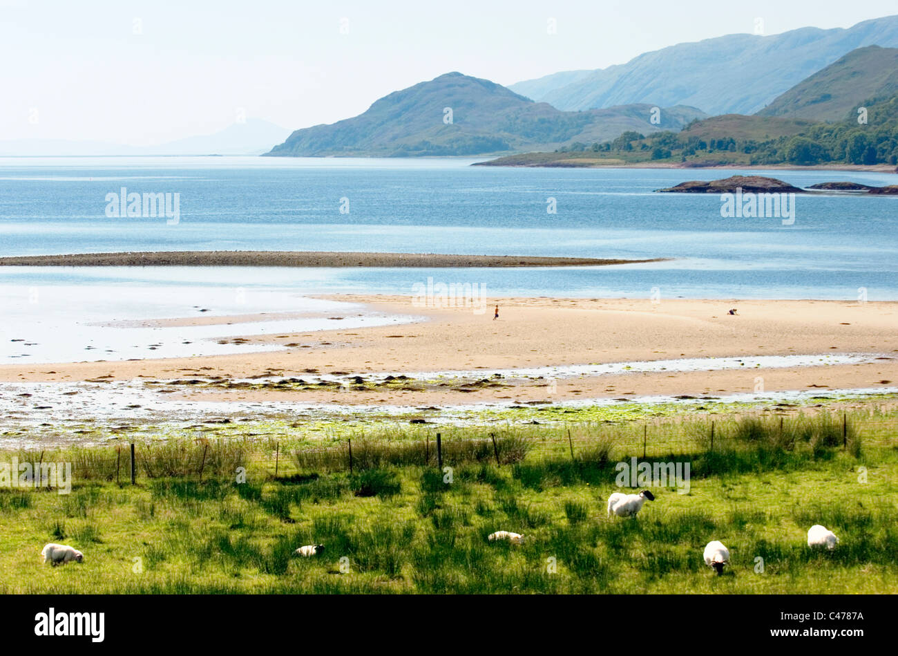 Southwest down the west shore of Loch Linnhe on the west coast of Scotland, UK. From near Corran and Sallachan Point - Stock Image