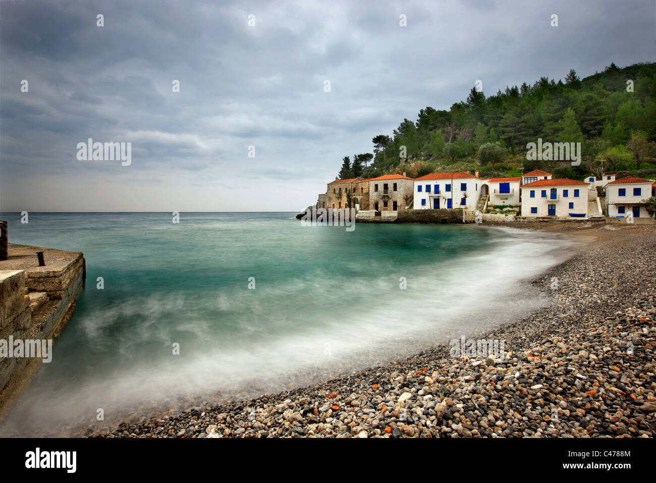 Kyparissi, a beautiful seaside village with traditional architecture at Lakonia prefecture, Peloponnese, Greece - Stock Image