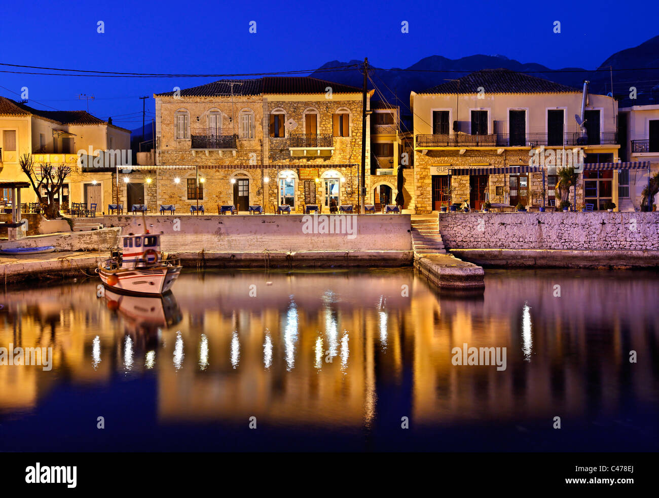 Partial view of the small harbor of Aghios Nikolaos (or 'Selinitsa') village in Western ('Messinian') - Stock Image
