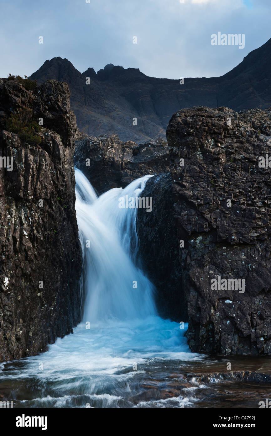 Waterfall at Fairy Pools, Coire na Creiche, Glenbrittle, Isle of Skye, Scotland - Stock Image