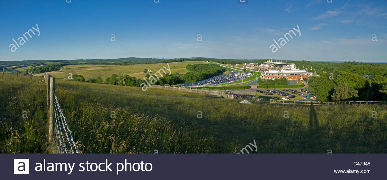 Goodwood From the Trundle Pano evening Light - Stock Image