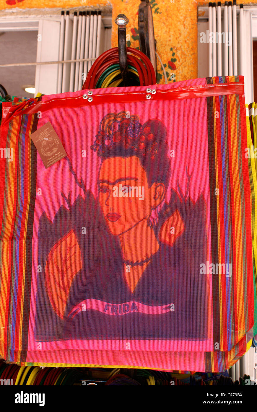 Portrait of Frida Kahlo on shopping bags, Playa del Carmen, Riviera Maya, Quintana Roo, Mexico - Stock Image