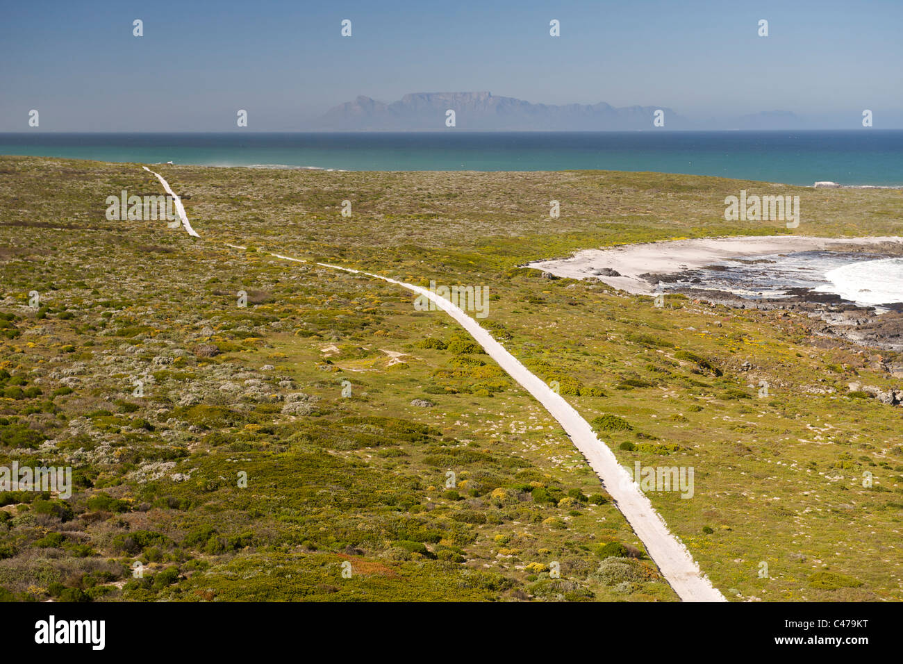 Aerial view of a dirt road running along Bokpunt on the west coast north of Cape Town in South Africa. - Stock Image