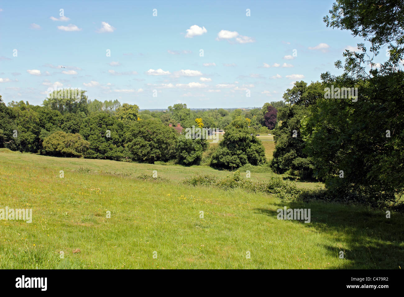 View from John F Kennedy Memorial, Runnymede, Berkshire, England UK. - Stock Image