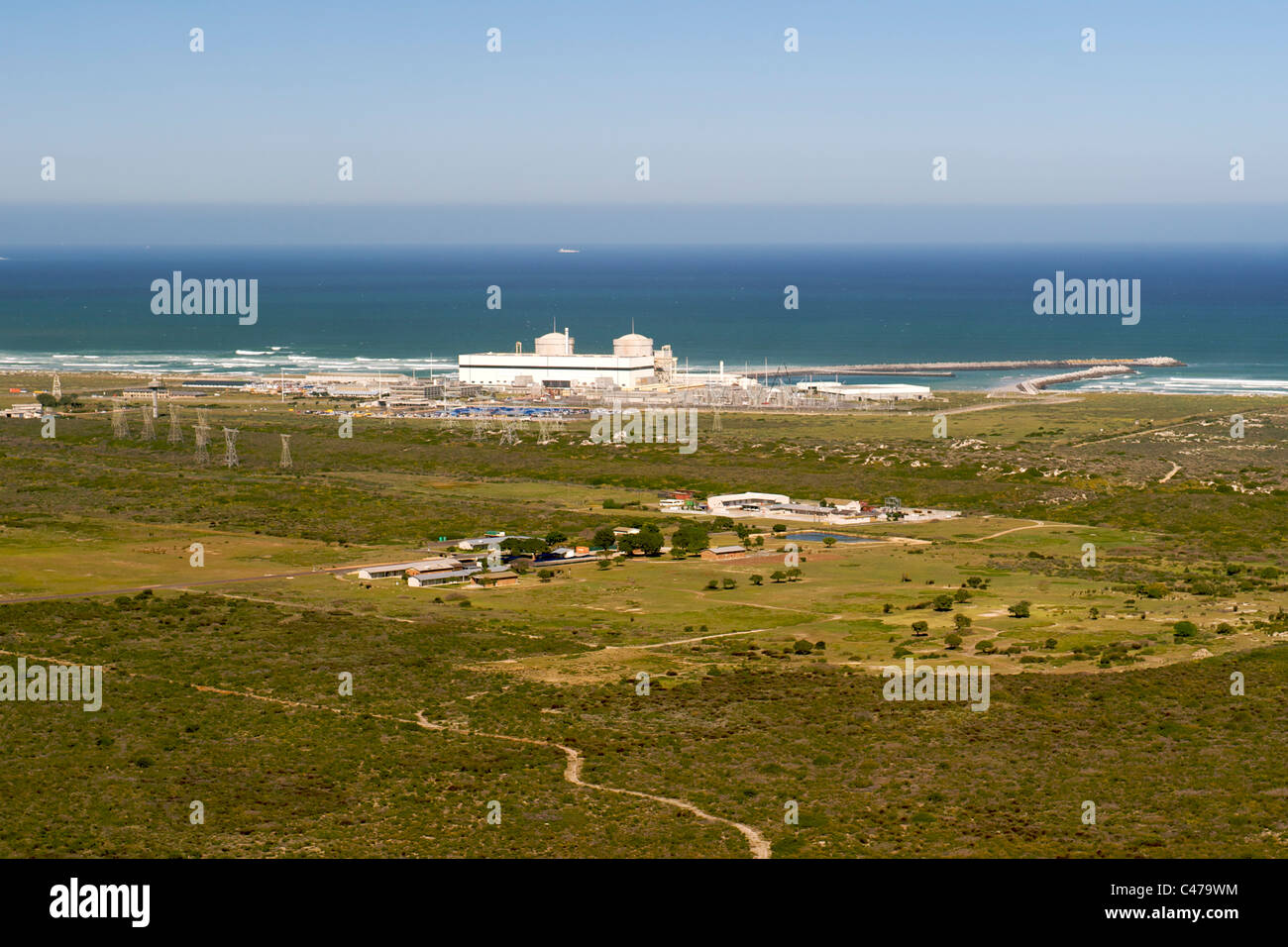 Aerial view of the Koeberg nuclear power station on the west coast north of Cape Town in South Africa. - Stock Image