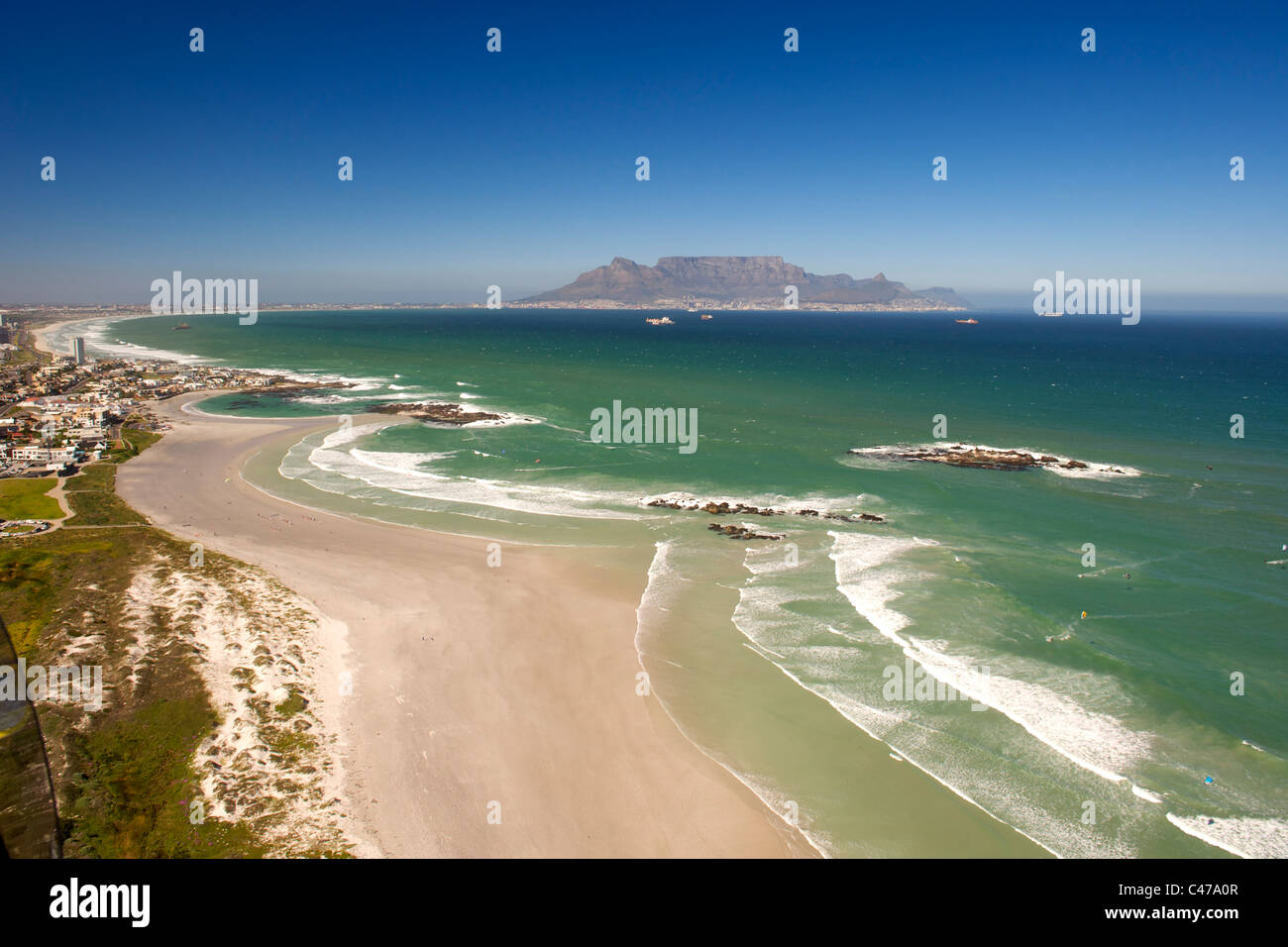 Aerial view looking south along the west coast north of Cape Town in South Africa. Stock Photo