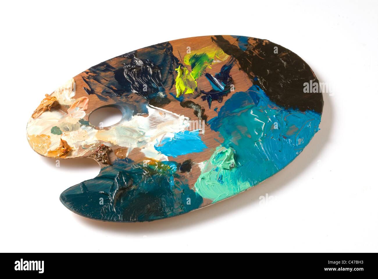 Artist's thin wooden paint palette - Stock Image