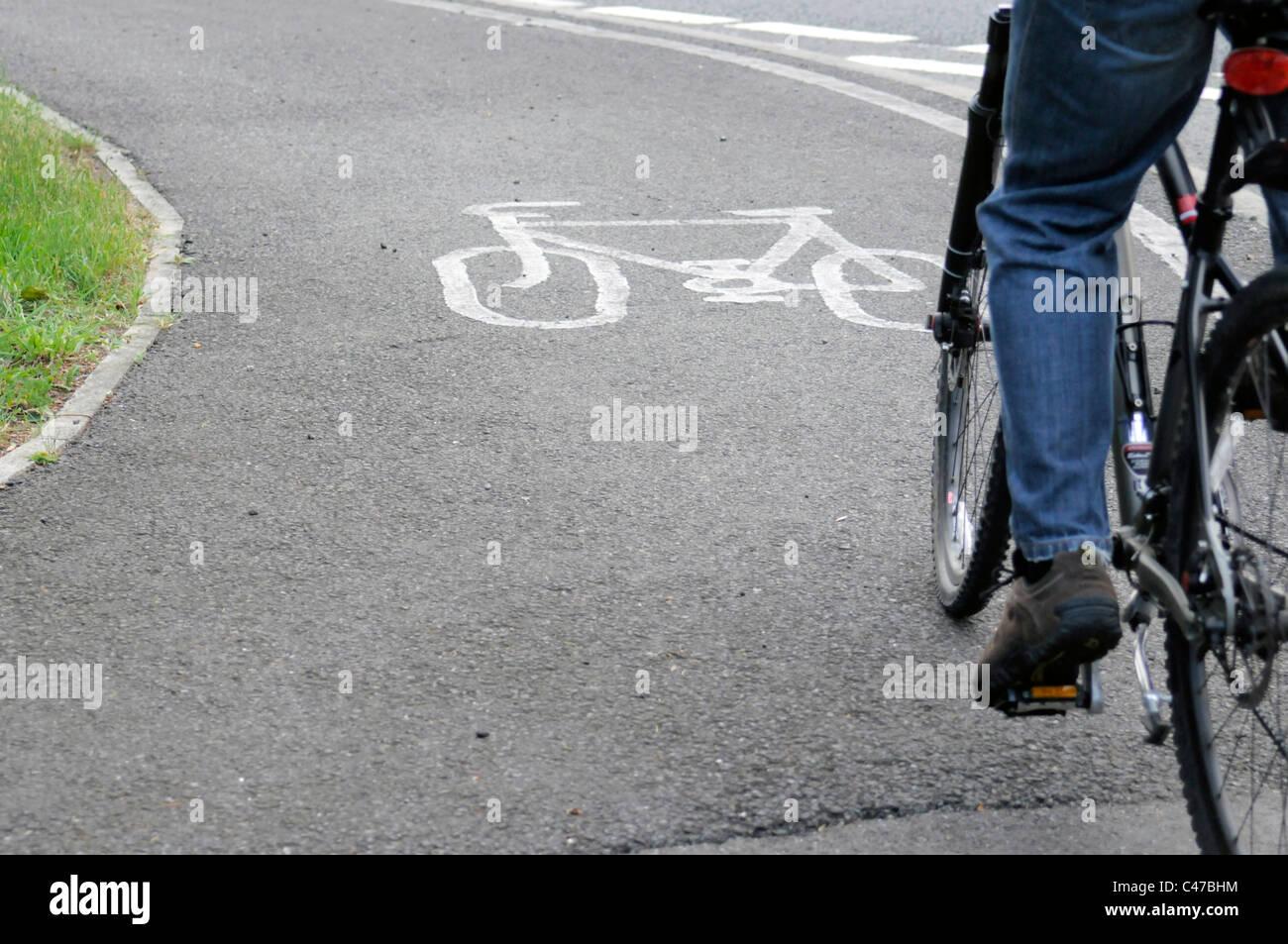 Cyclist on Cycle Lane - Stock Image