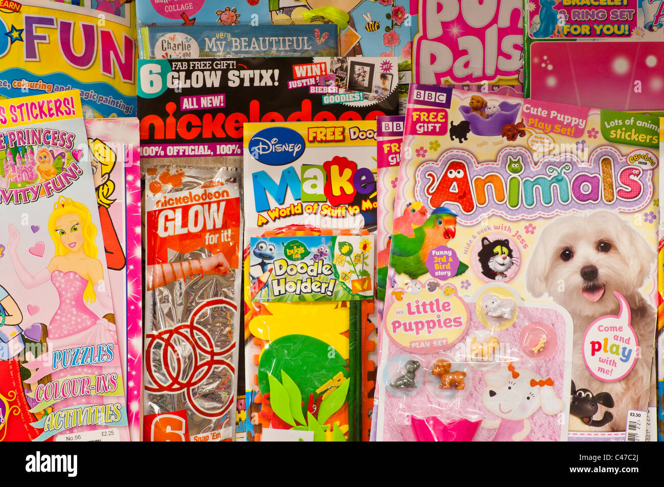 Childrens Comics In A Newsagents Stock Photo