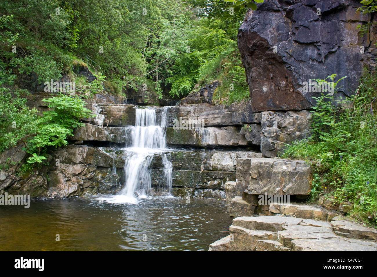 Waterfall near Gibsons Cave, Bowlees, Teesdale, County Durham - Stock Image