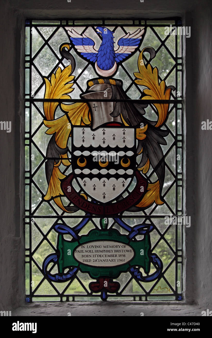A stained glass window by Francis Street depicting the Bristowe Coat of Arms, St Mary the Virgin Church, Souldern, - Stock Image