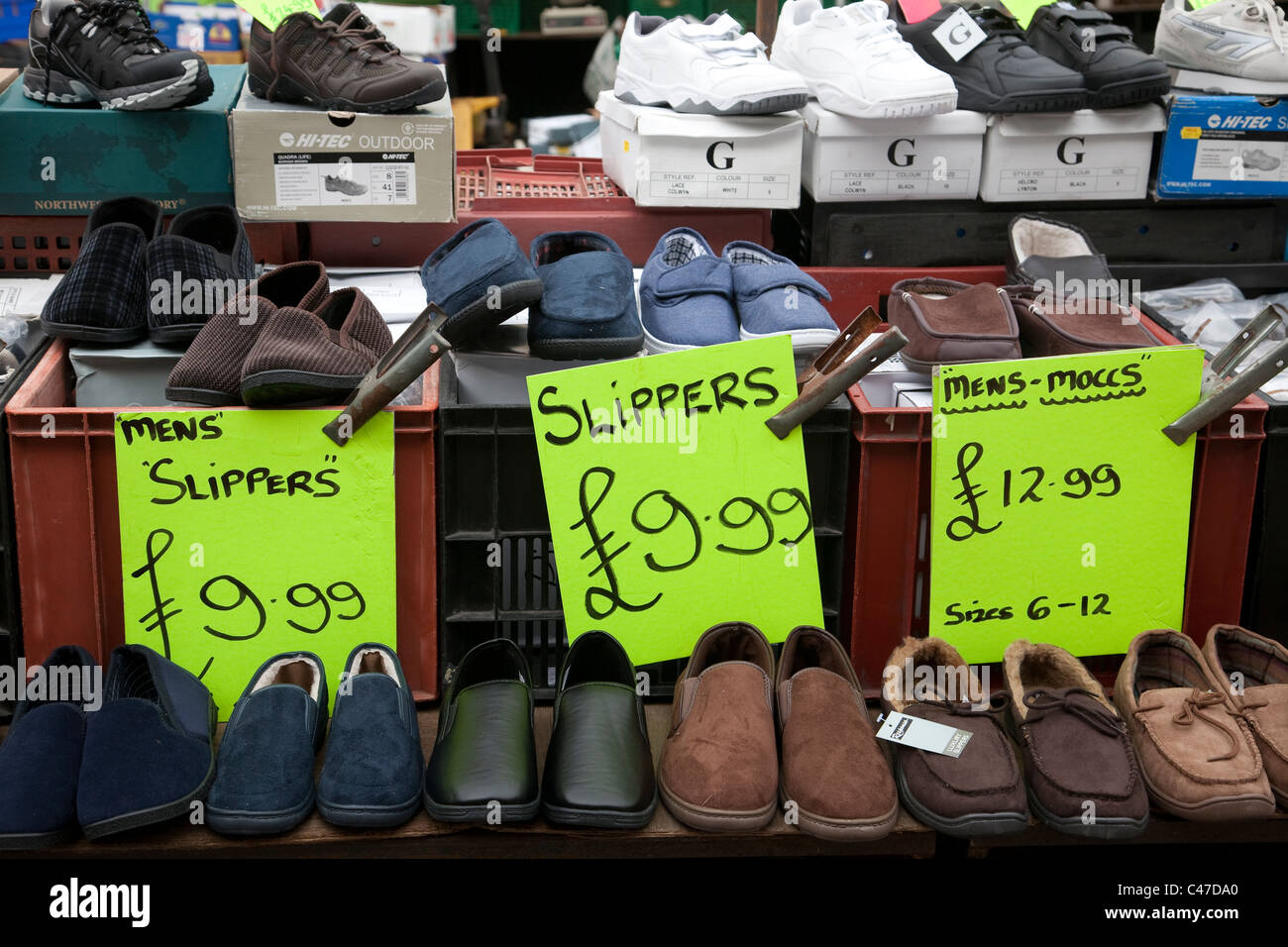 Mens slippers for sale on a English town market stall. Photo:Jeff Gilbert - Stock Image