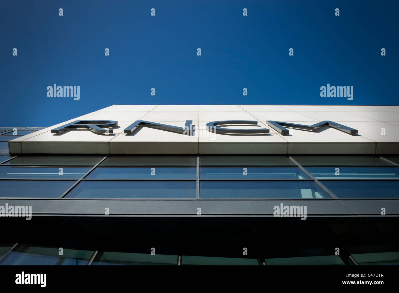 RNCM logo letters on the side of the Royal Northern College of Music building on Oxford Road, Manchester (Editorial - Stock Image