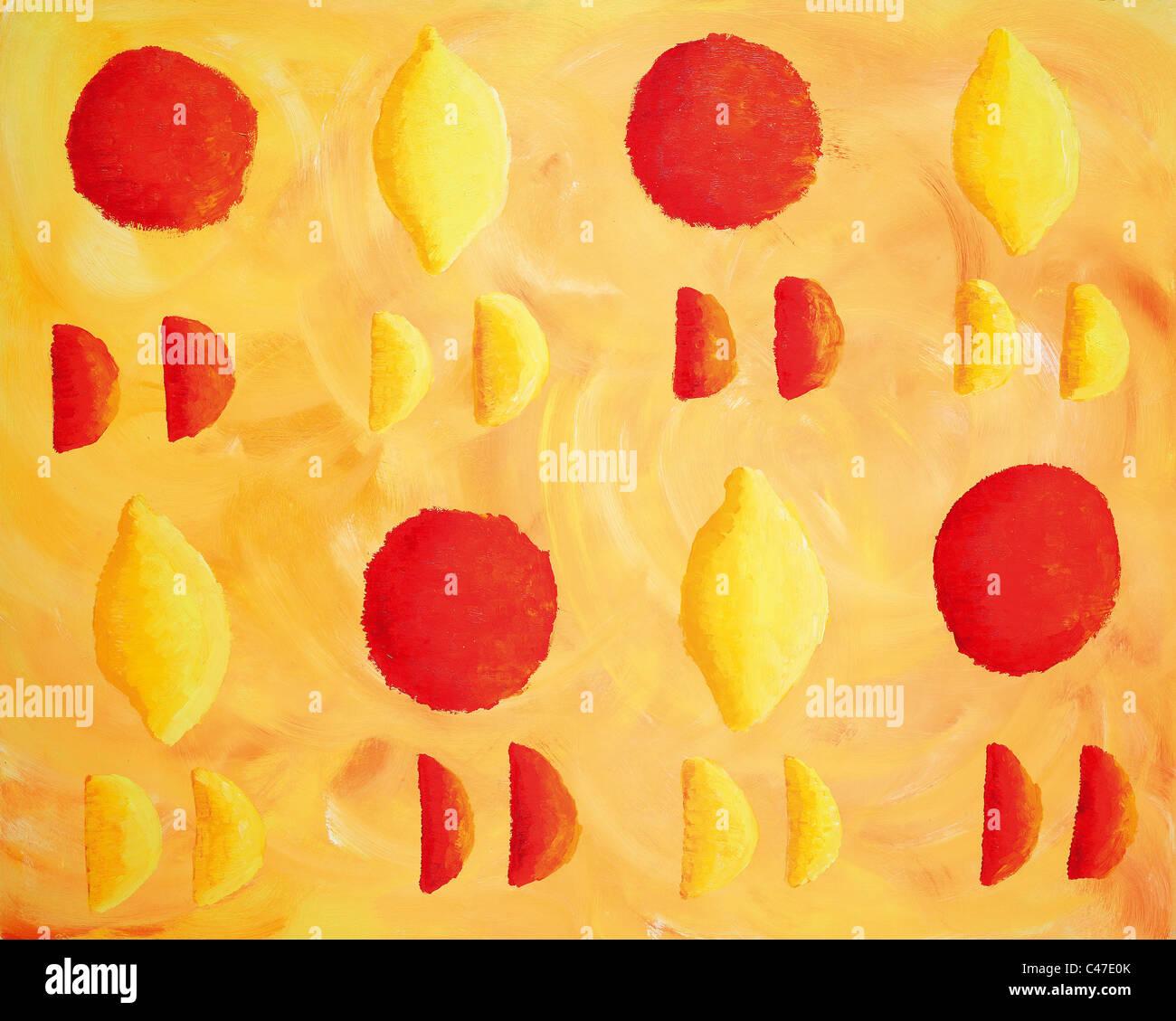 Acrylic painting of oranges and lemons. - Stock Image