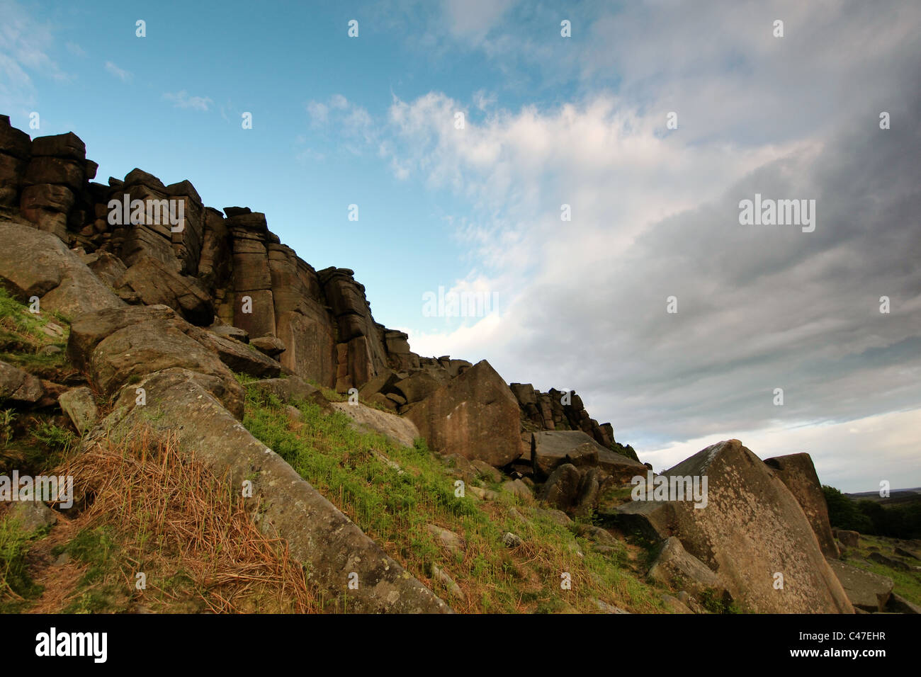 Stanage Edge rocky gritstone outcrop Peak District, Derbyshire, England, Great Britain - Stock Image