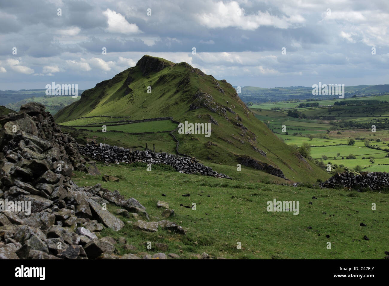 Chrome Hill and countryside in Peak District Derbyshire England UK - Stock Image