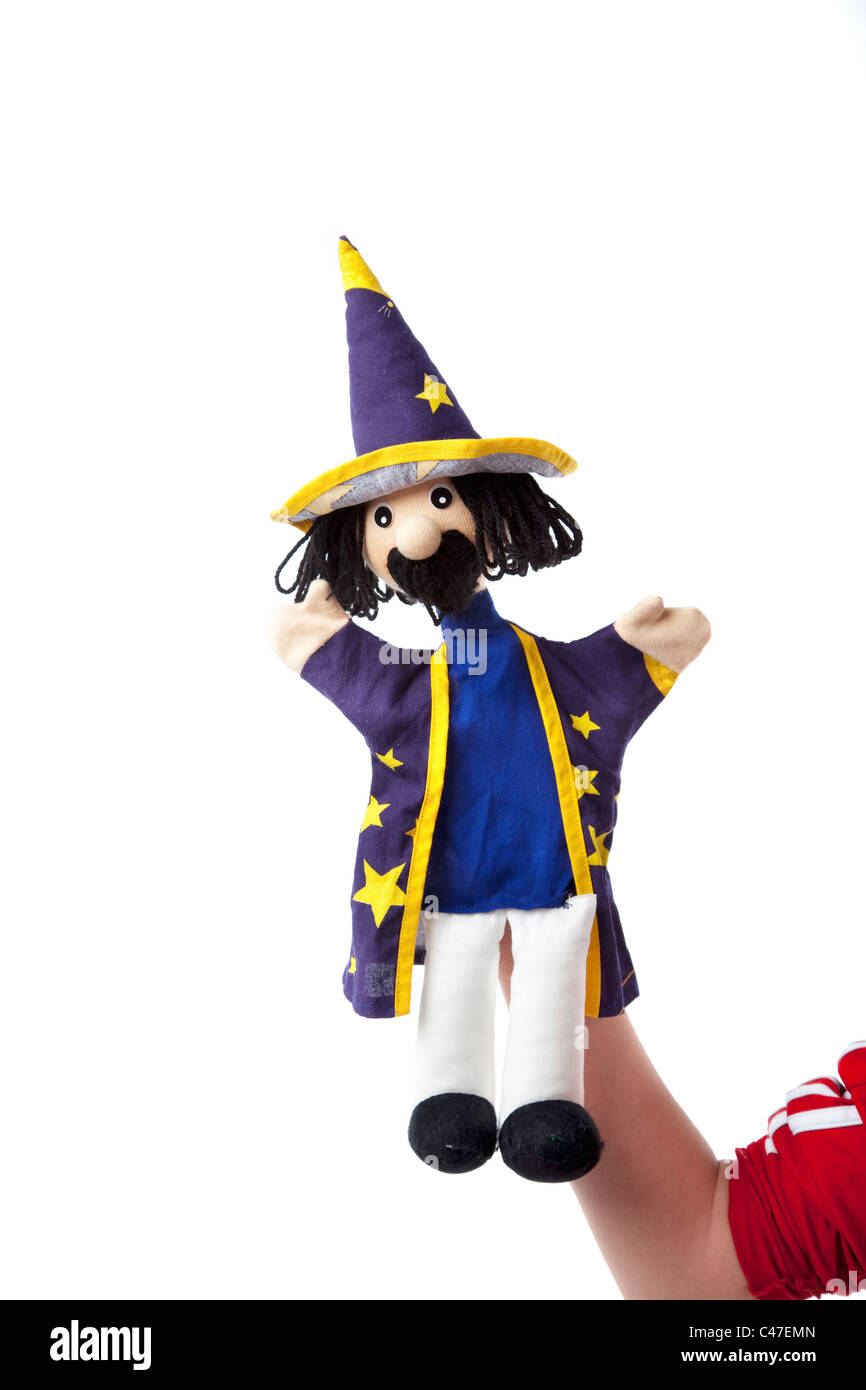 Wizard hand puppet - Stock Image