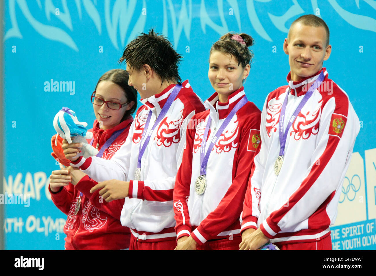 Team Russia takes the silver in the Mixed 4x100m Medley Relay Finals. - Stock Image