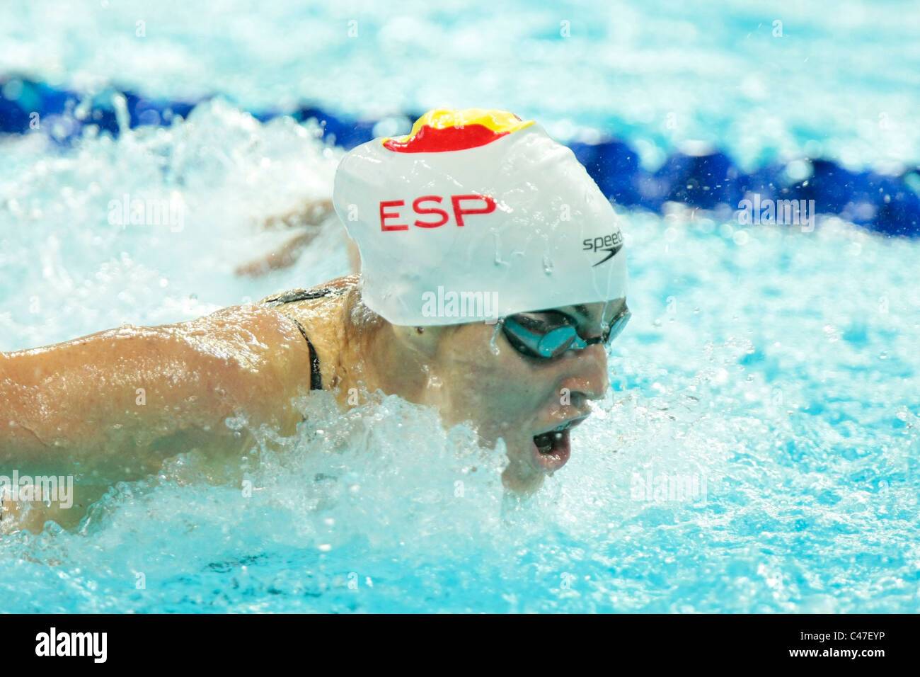 Anna Marti of Spain competing in the Women's 100m Butterfly Finals. - Stock Image