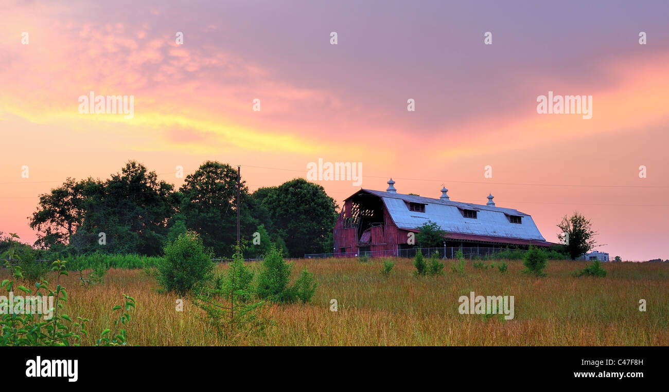 Old Farmland with abandoned barn - Stock Image