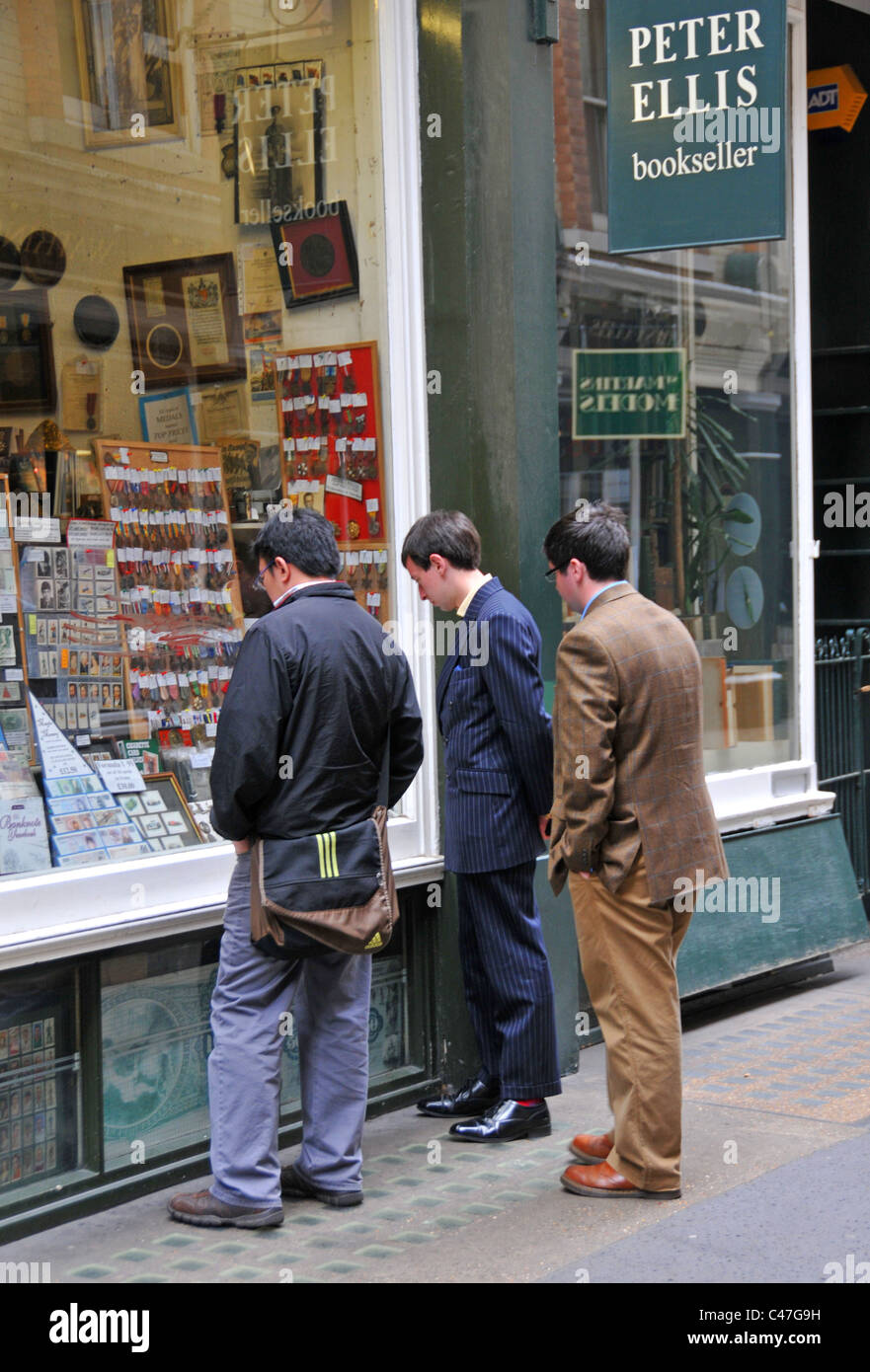 Cecil Court London secondhand books collectors stamps prints - Stock Image