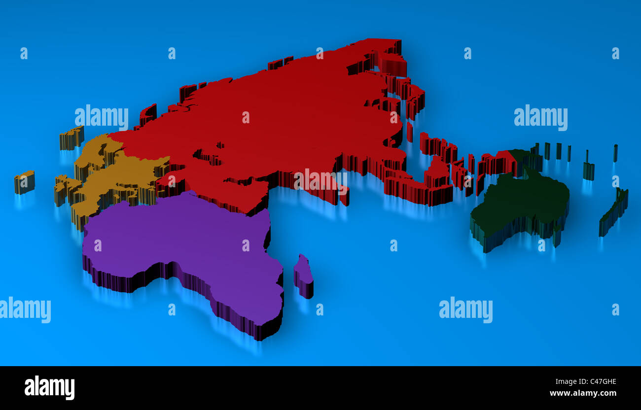 World map 3d render with the different continents africa europa world map 3d render with the different continents africa europa australia asia gumiabroncs Choice Image