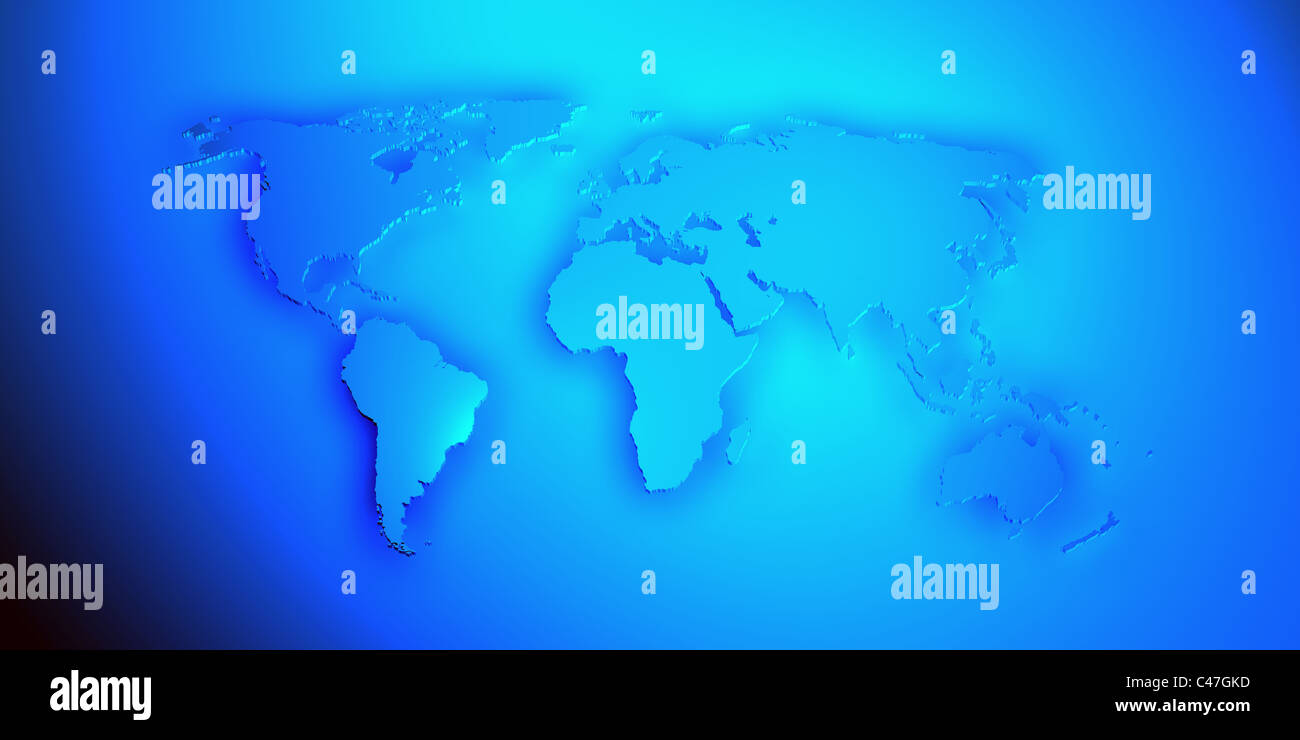 World Map D Render With The Different Continents In Blue Color - World map in blue color
