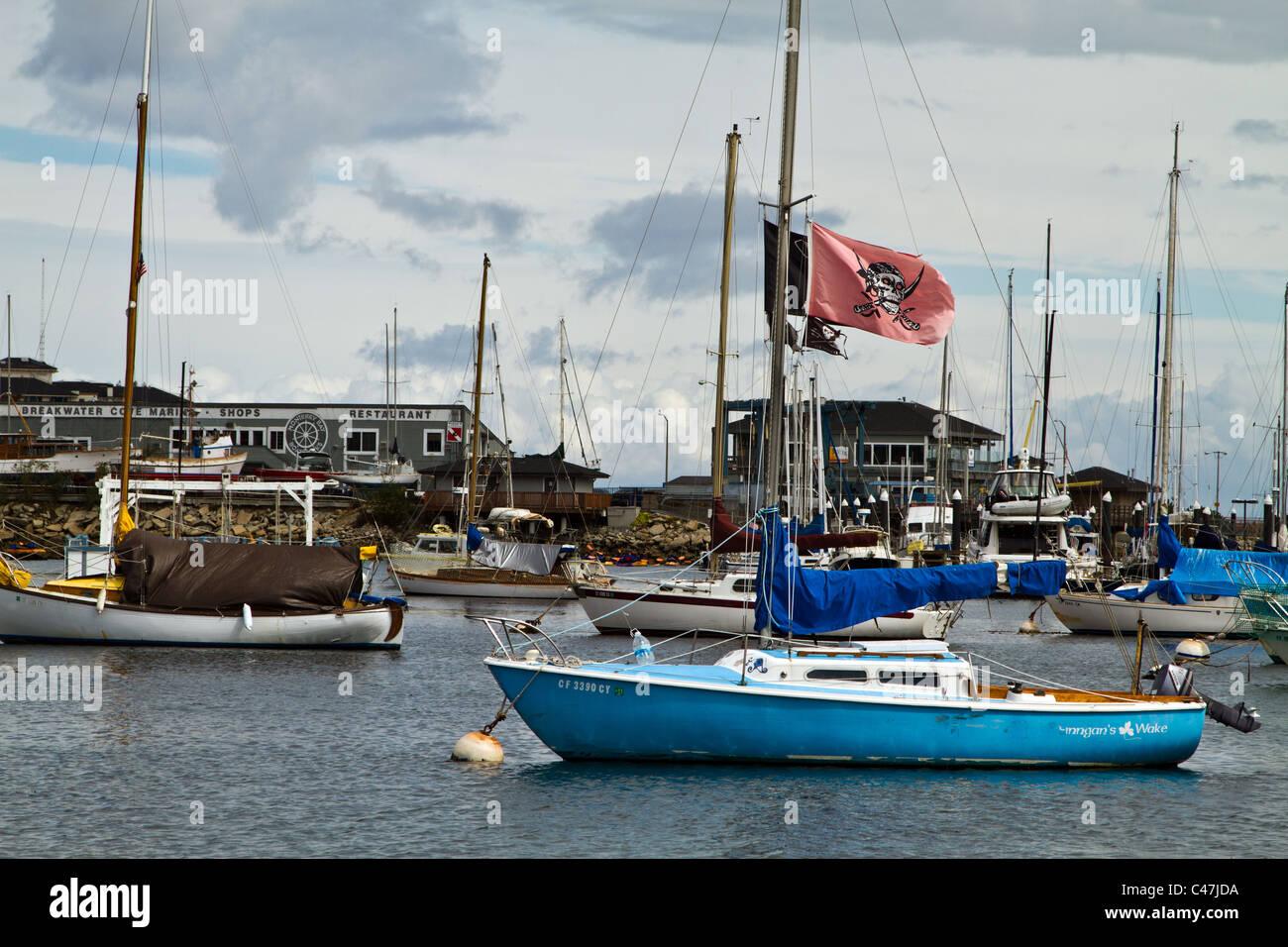 Sailboat with pirate flag hanging - Monterey Bay, Calfiornia - Stock Image