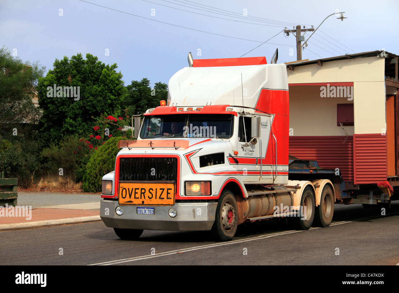 Prime mover truck with oversize sign, Carnamah Western Australia - Stock Image