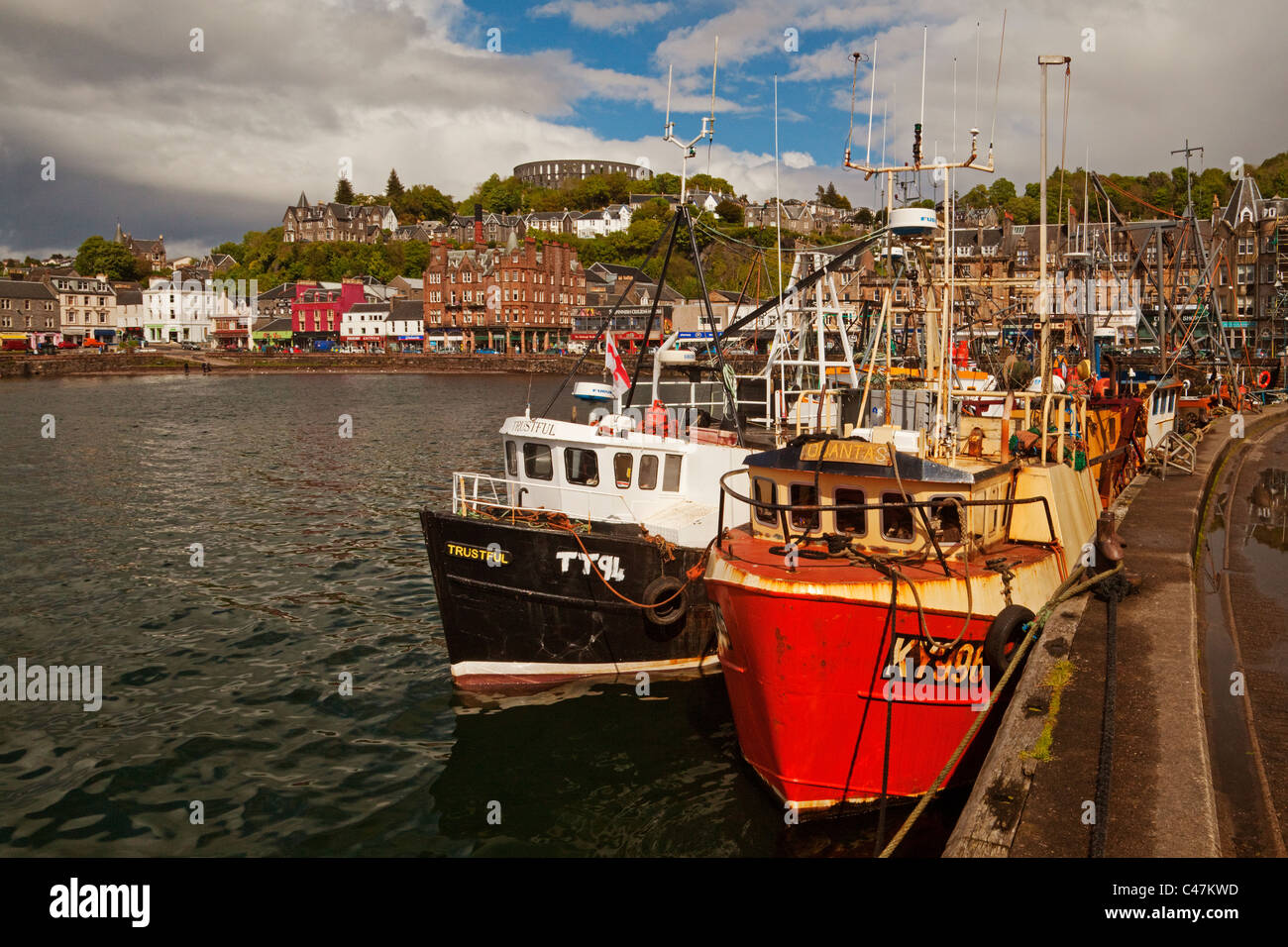 The Harbour, Columba Hotel and McCaig's Tower,Oban - Stock Image