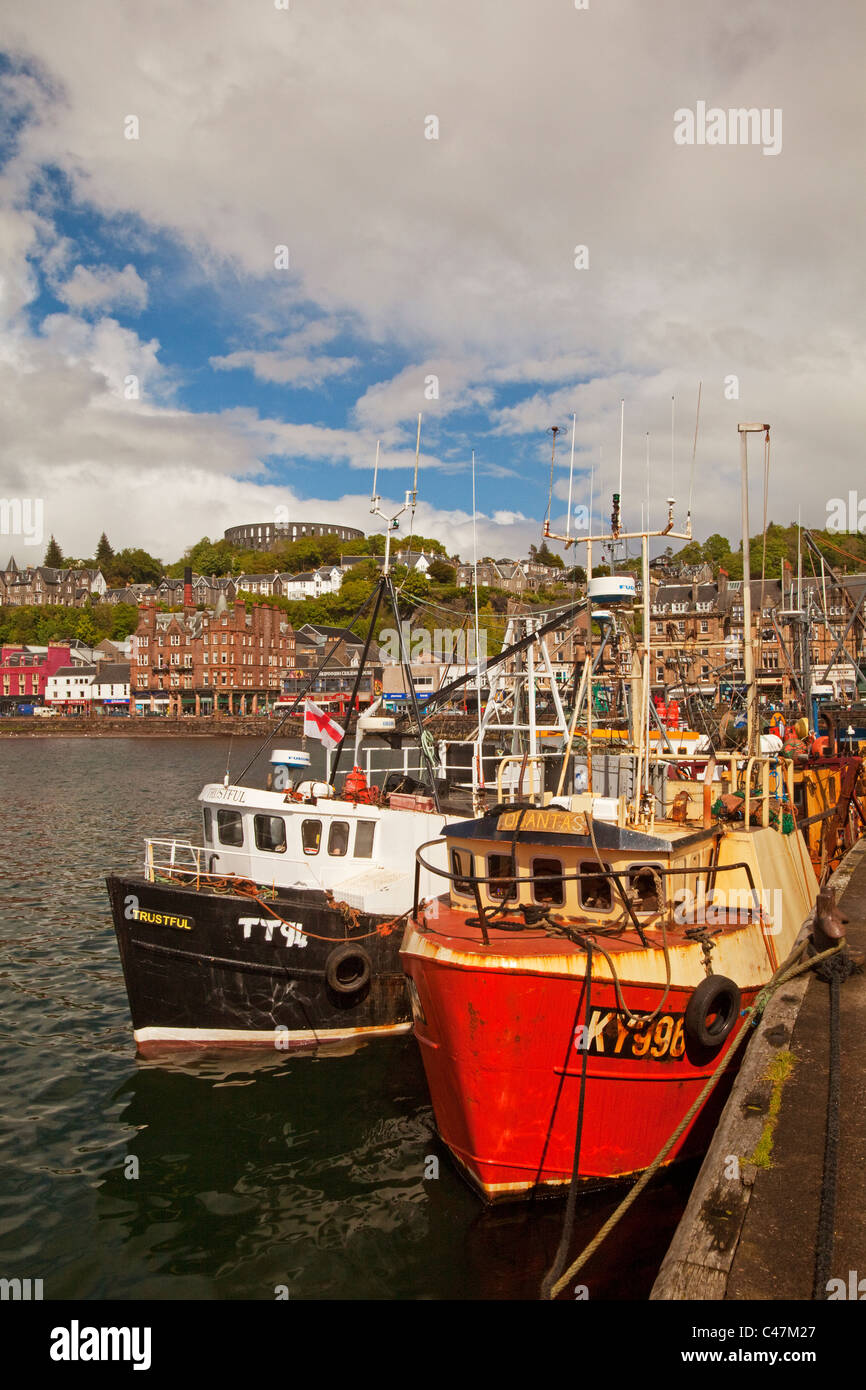 The Harbour, Columba Hotel and McCaig's Tower, Oban - Stock Image