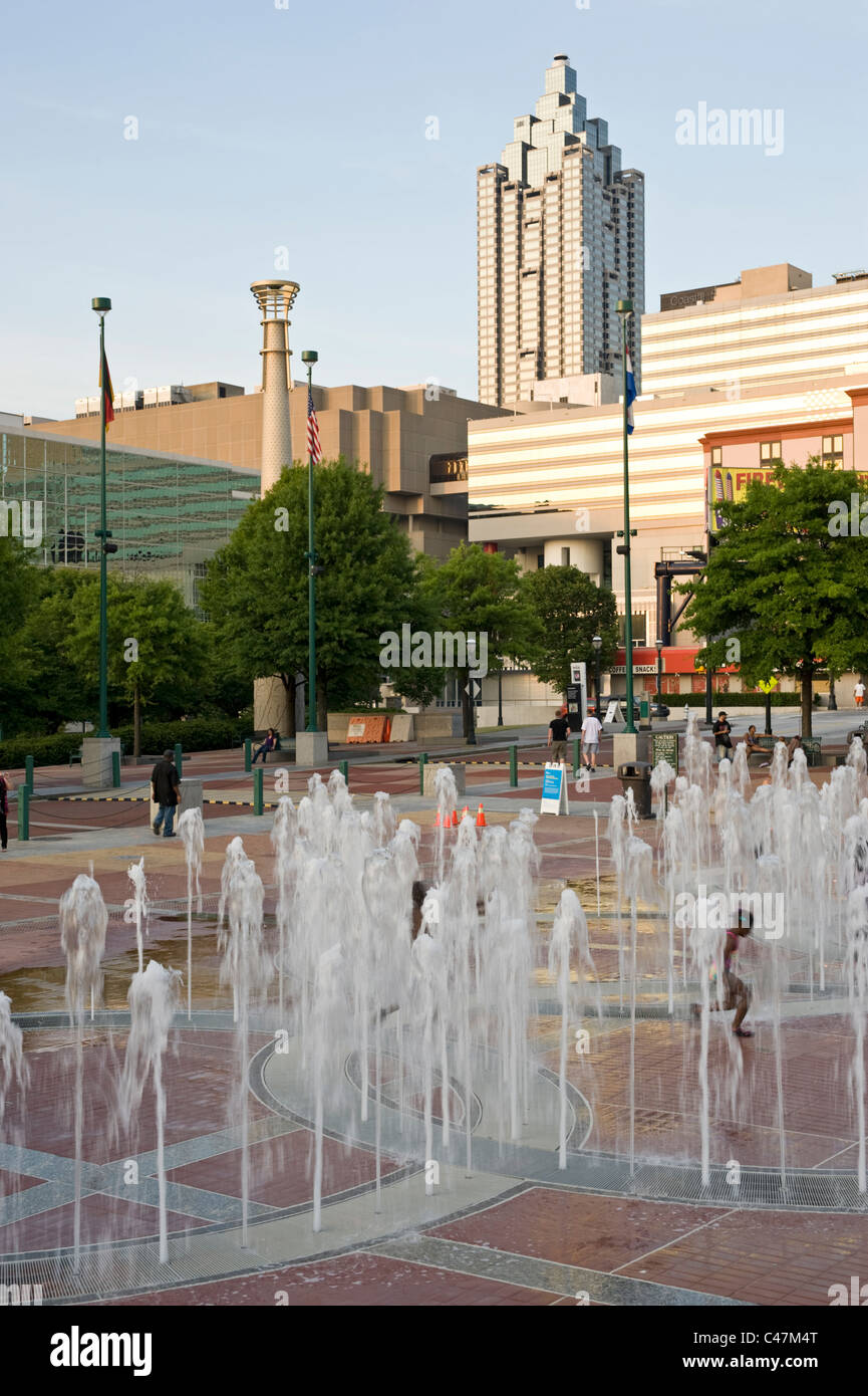 The Fountain of Rings at Centennial Olympic Park in downtown Atlanta, Georgia - Stock Image