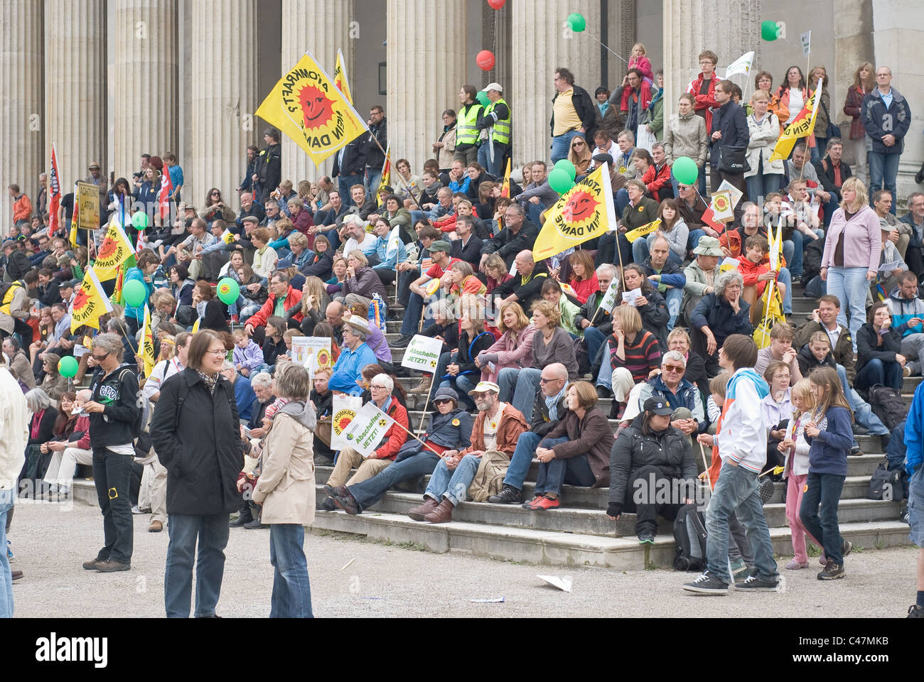 MUNICH, GERMANY - MAY 28: Protesters at the 'Anti Atomic Energy' rally, which was held at the Koenigsplatz - Stock Image