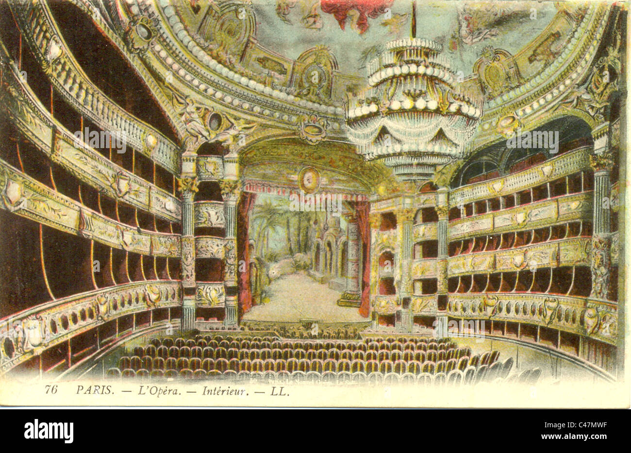 Postcard of interior of the Opera House, Paris - Stock Image