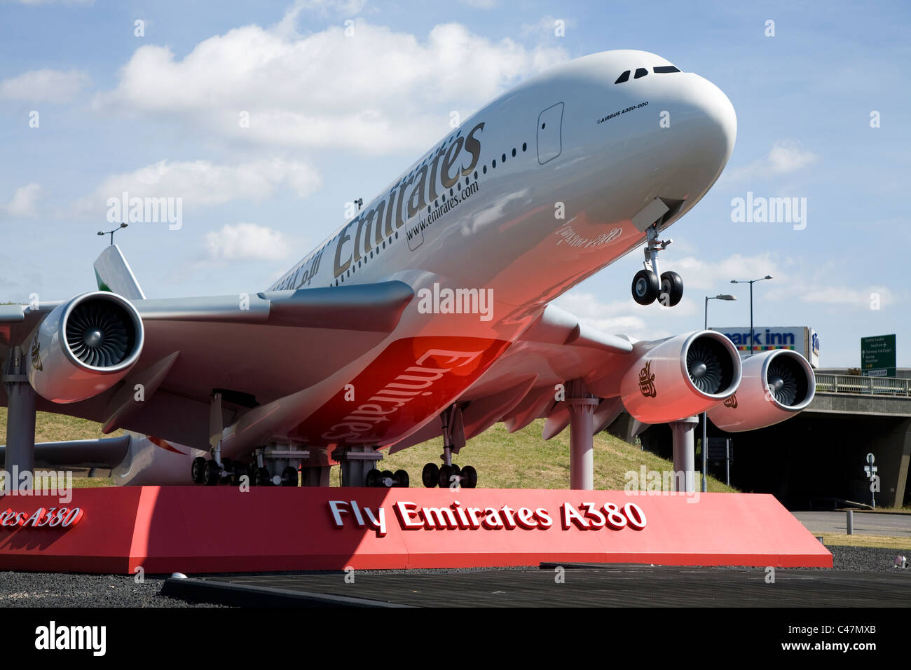 Big scale model of an Emirates Airbus A380-861 A6-EDH plane at the gateway  to London Heathrow airport near the A4 road. UK