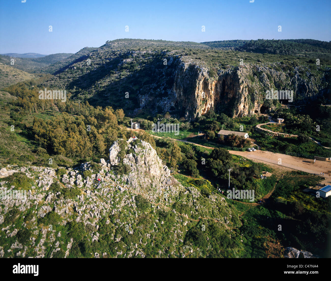 Aerial view of the prehistoric caves in the Carmel hills - Stock Image