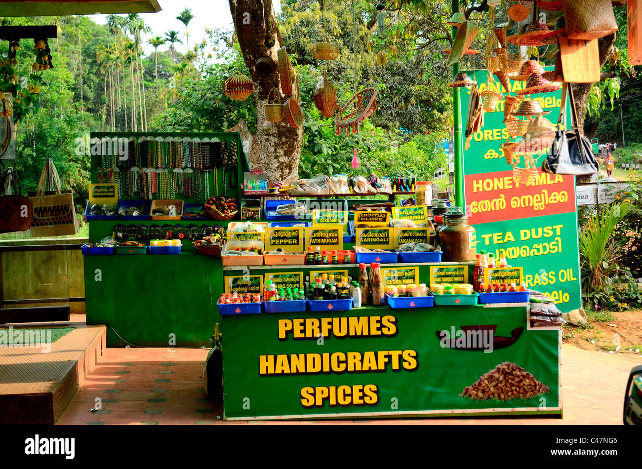 Spice and perfume outlet in India - Stock Image