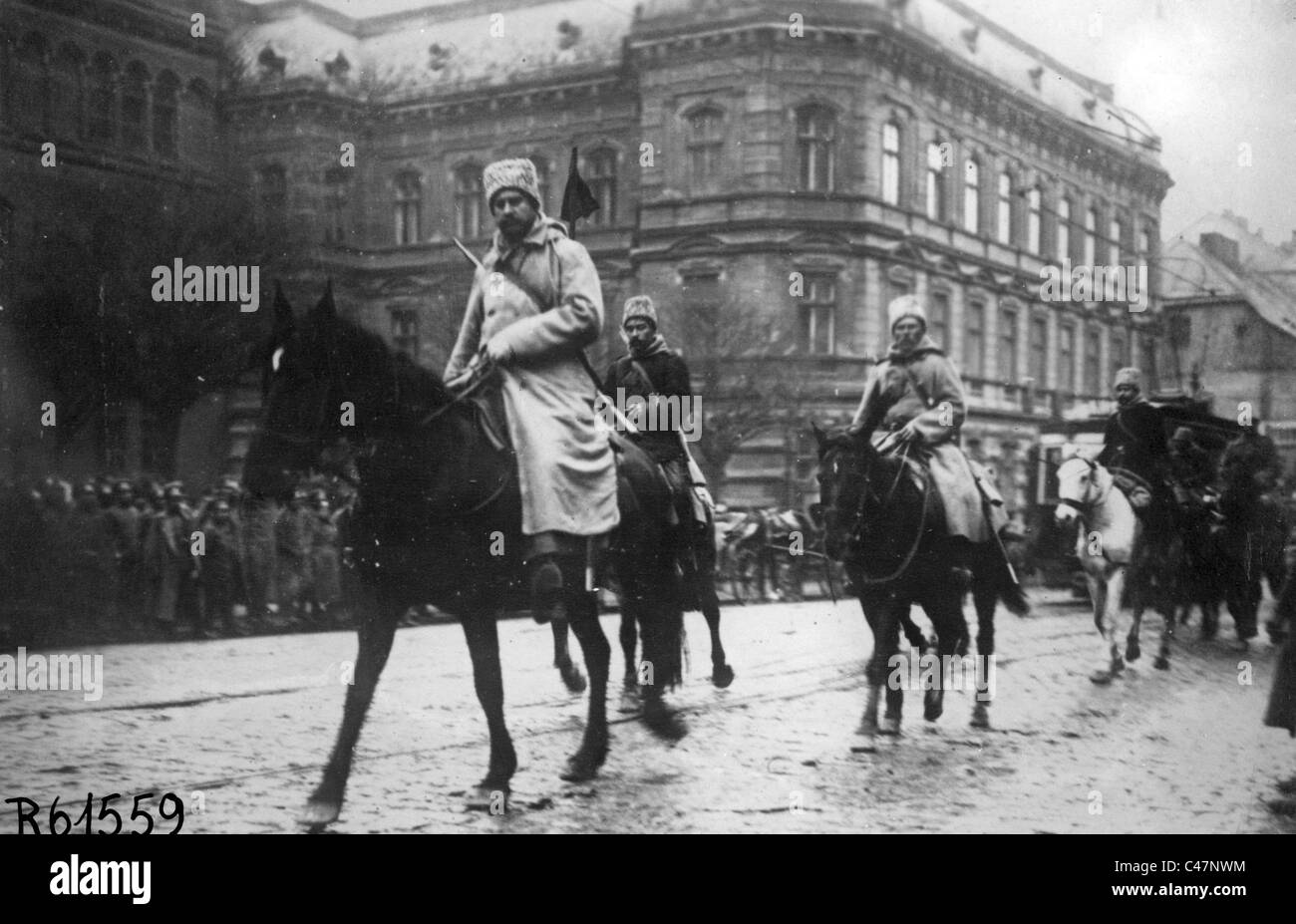Entry of Russian cavalry in Lviv, 1914 Stock Photo