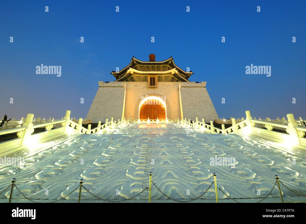 Facade of a memorial at night, Chiang Kaishek Memorial Hall, Taipei, Taiwan - Stock Image