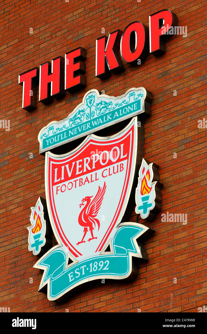 Liverpool Football Club logo, Anfield, Liverpool - Stock Image