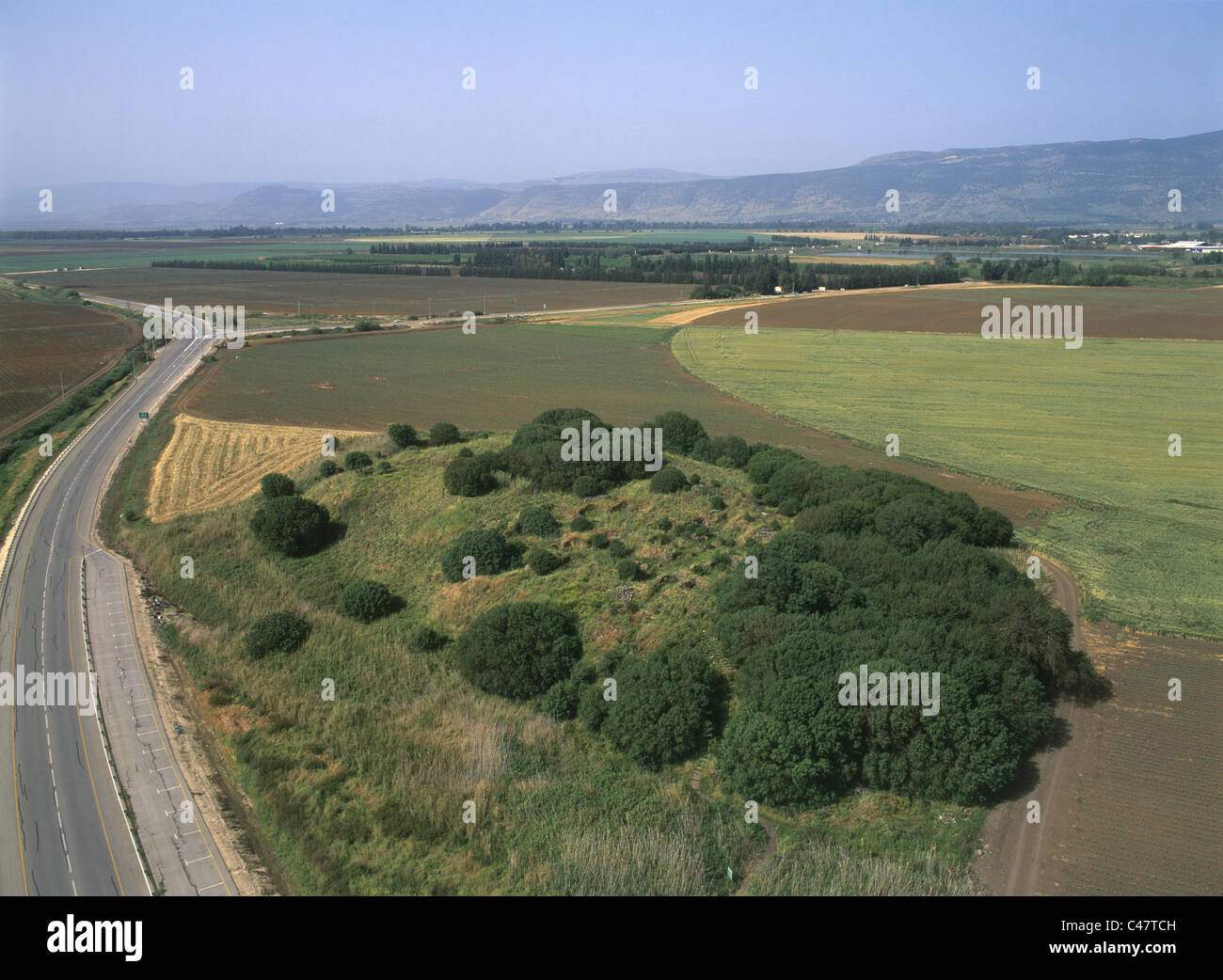 Aerial view of the Hellenistic site of Anafa in the Upper Galilee - Stock Image