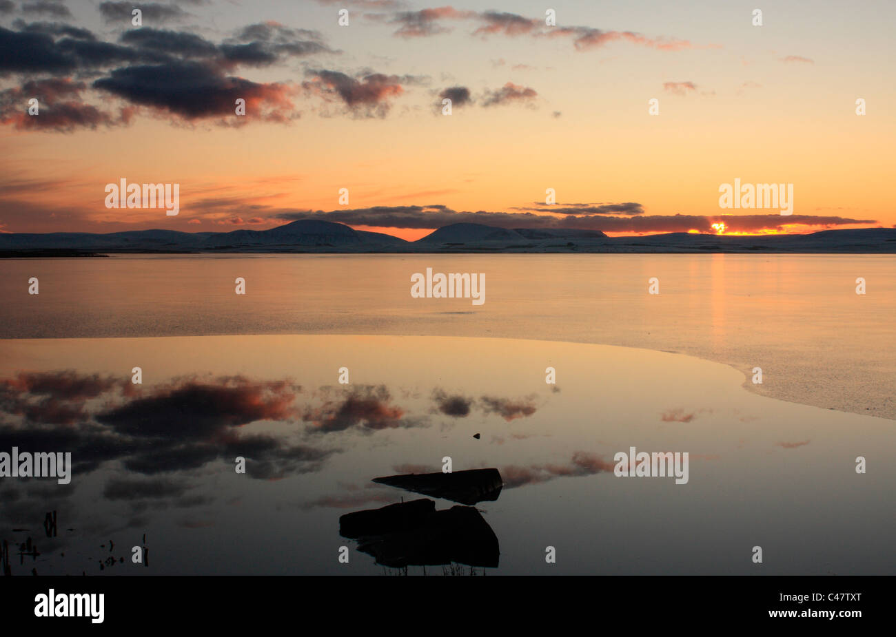 Orkney, Harray Loch in winter - Stock Image
