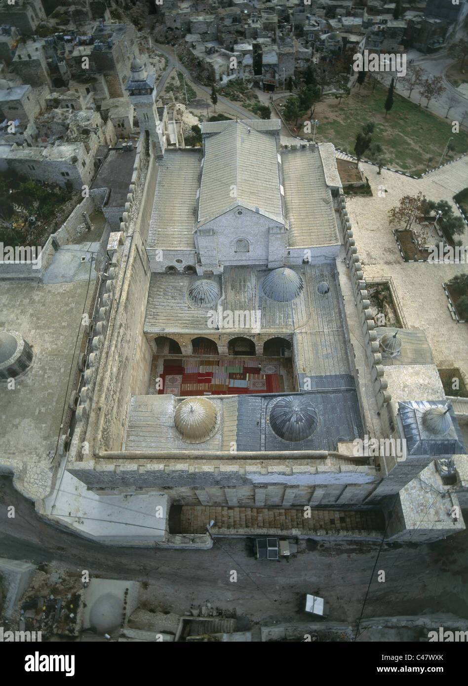 Aerial view of the Haram el Kahalil compound within the modern city of Hevron - Stock Image